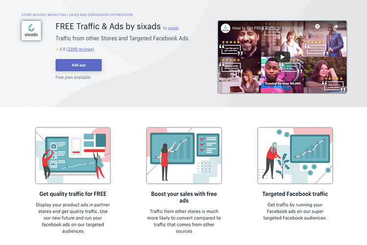Free Shopify App Sixads for driving traffic