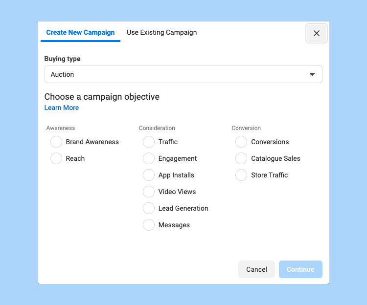 Choosing campaign objective in Facebook ads manager