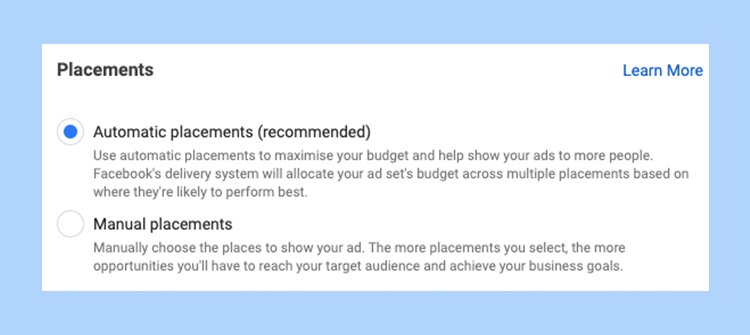 Placements in Facebook Ads Manager