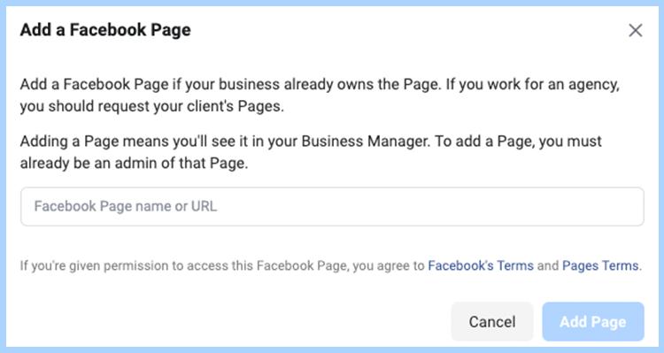 Facebook ads manager set-up. Add Facebook page