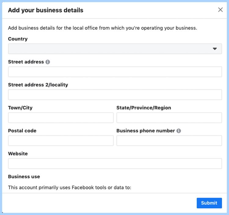 Facebook ads manager set-up. Add your Facebook business details