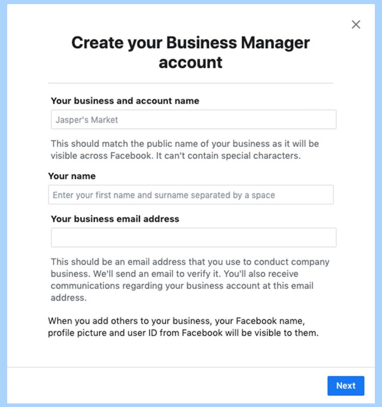 Facebook ads manager set-up. Create your business manager Facebook