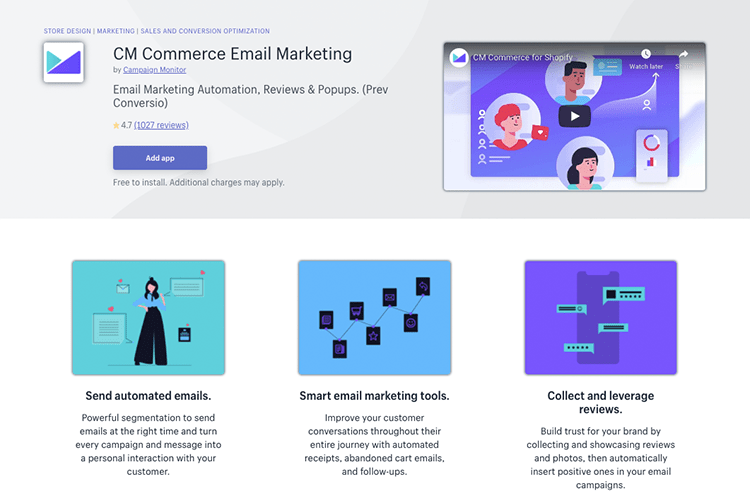 CM Commerce Email Marketing app
