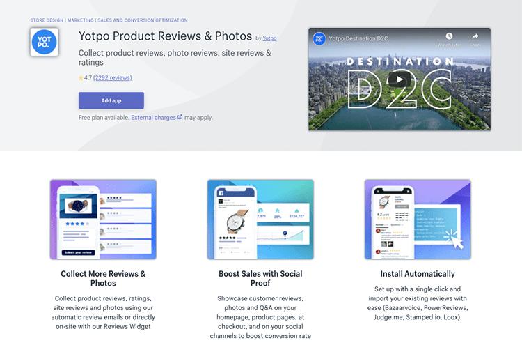 Yotpo app Product reviews & photos