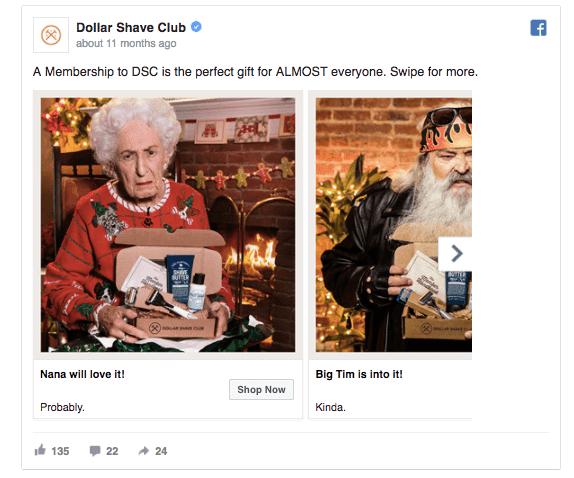 Dollar Shave Club Xmas Facebook ad