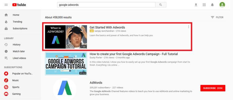 google adwords video ad
