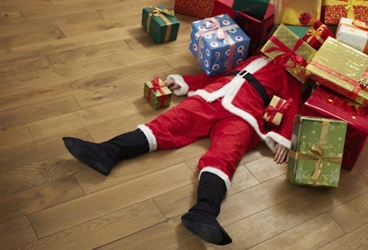 santa under presents
