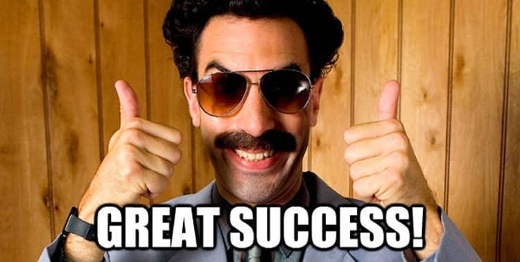 borat great success meme