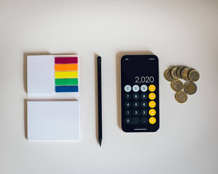 mobile calculator sticky notes