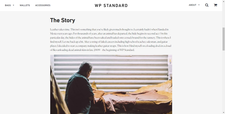 wp standard about us page