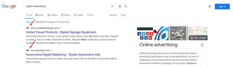 digital advertising ad on google