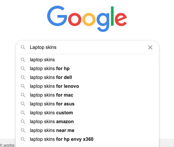 laptop skins on google search