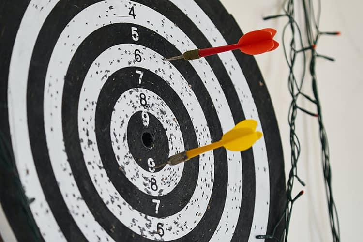 red yellow darts target