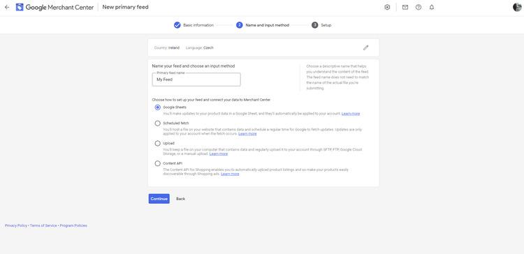 selecting google sheets