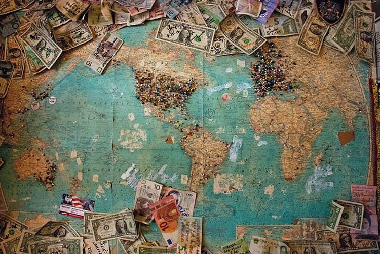 us dollar bills on world map