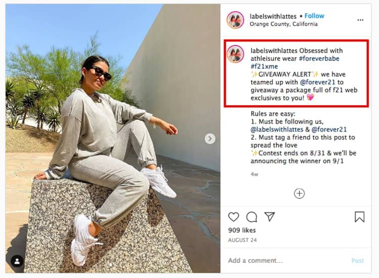 woman sweatpants instagram ad labelswithlattes