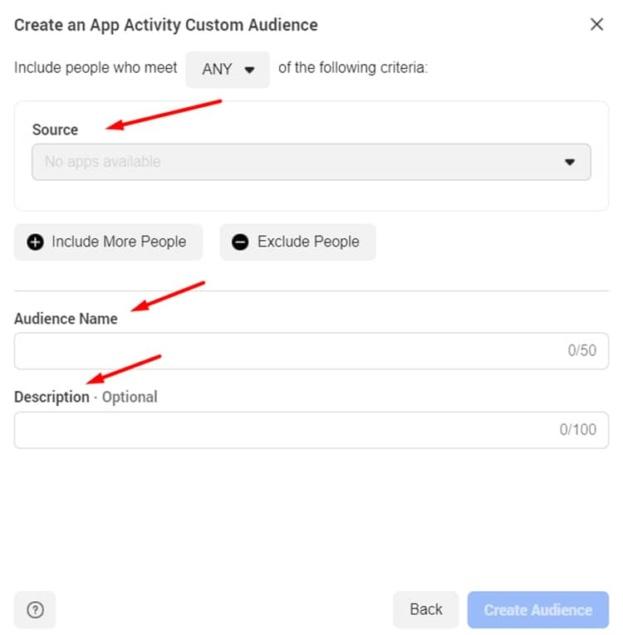app activity audience info
