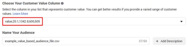identify cutomer value column