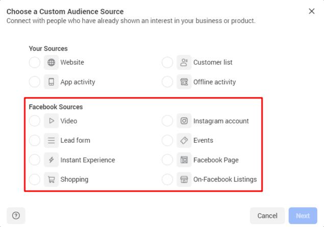 choose facebook source