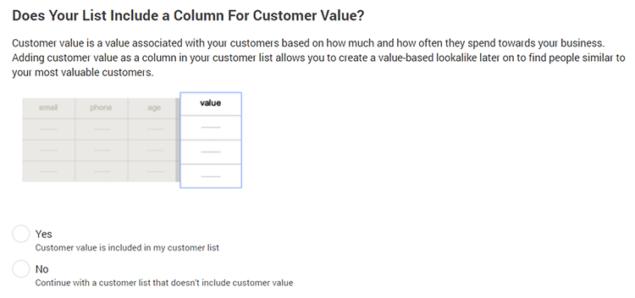 column for customer vlaue