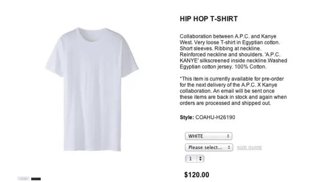 kanye west white t-shirt