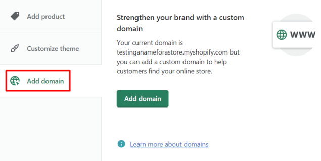 add domain to shopify store