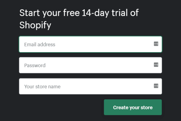 start your shopify free trial