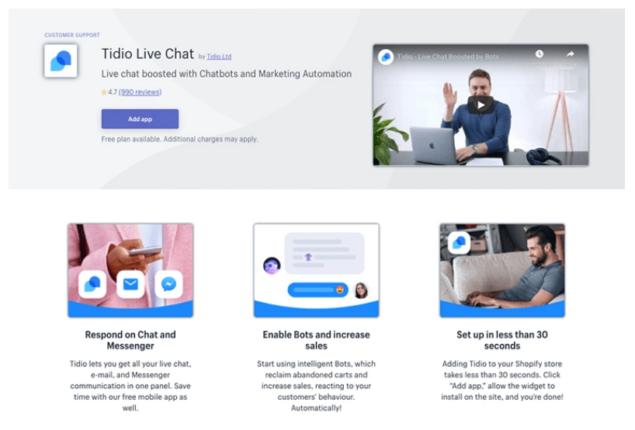 tidio live chat app